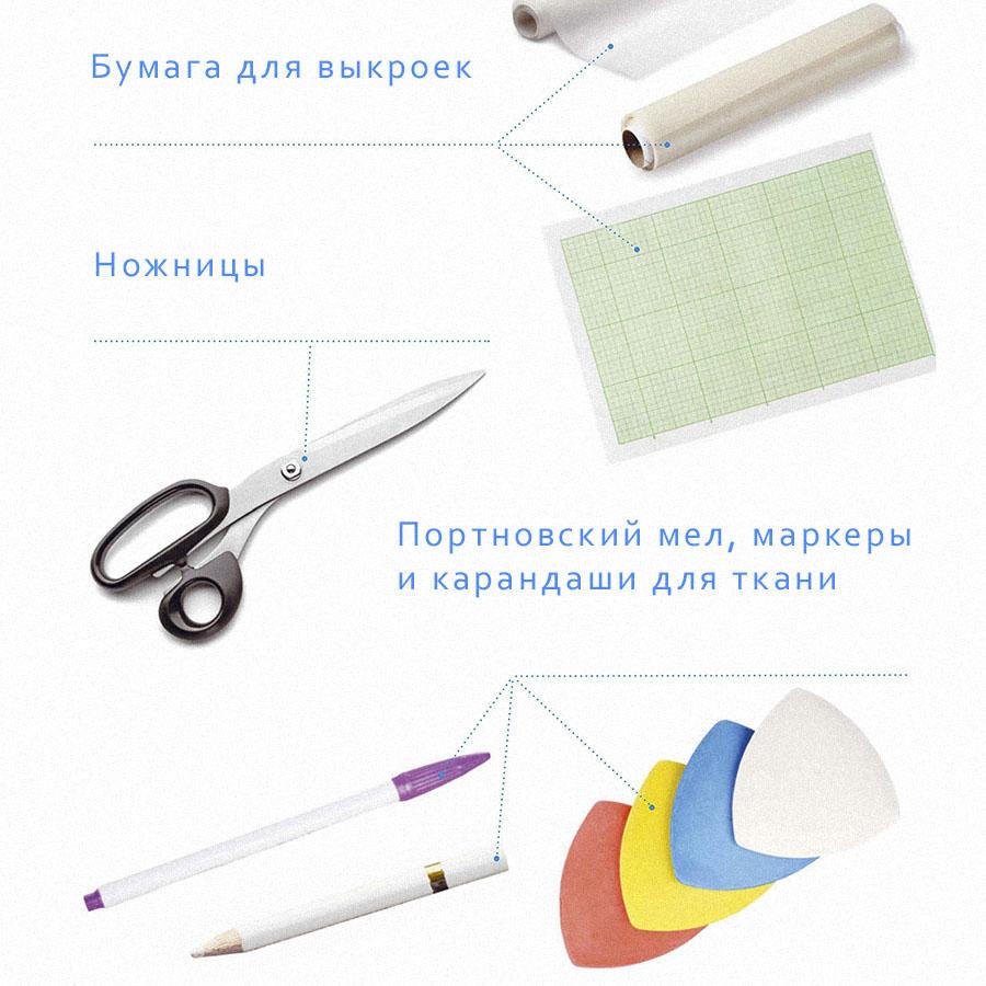 Бумага, ножницы, портновский мел, маркеры