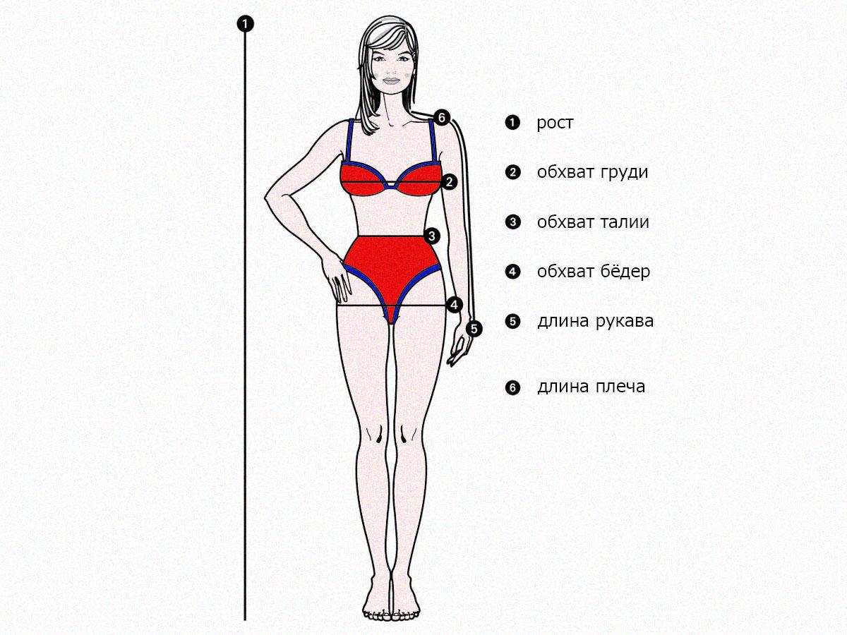 Мерки для определения размера одежды