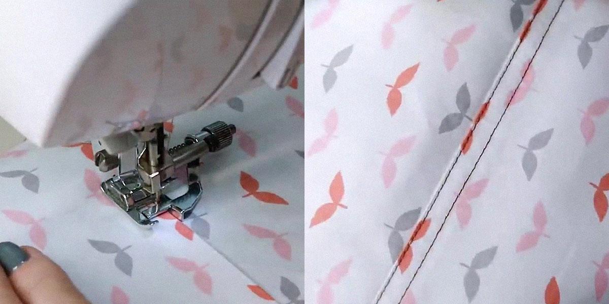 Ровная строчка с помощью лапки для потайного шва